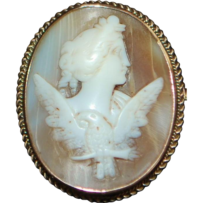 14K Victorian Rose Gold Dove Cameo Brooch - 1885