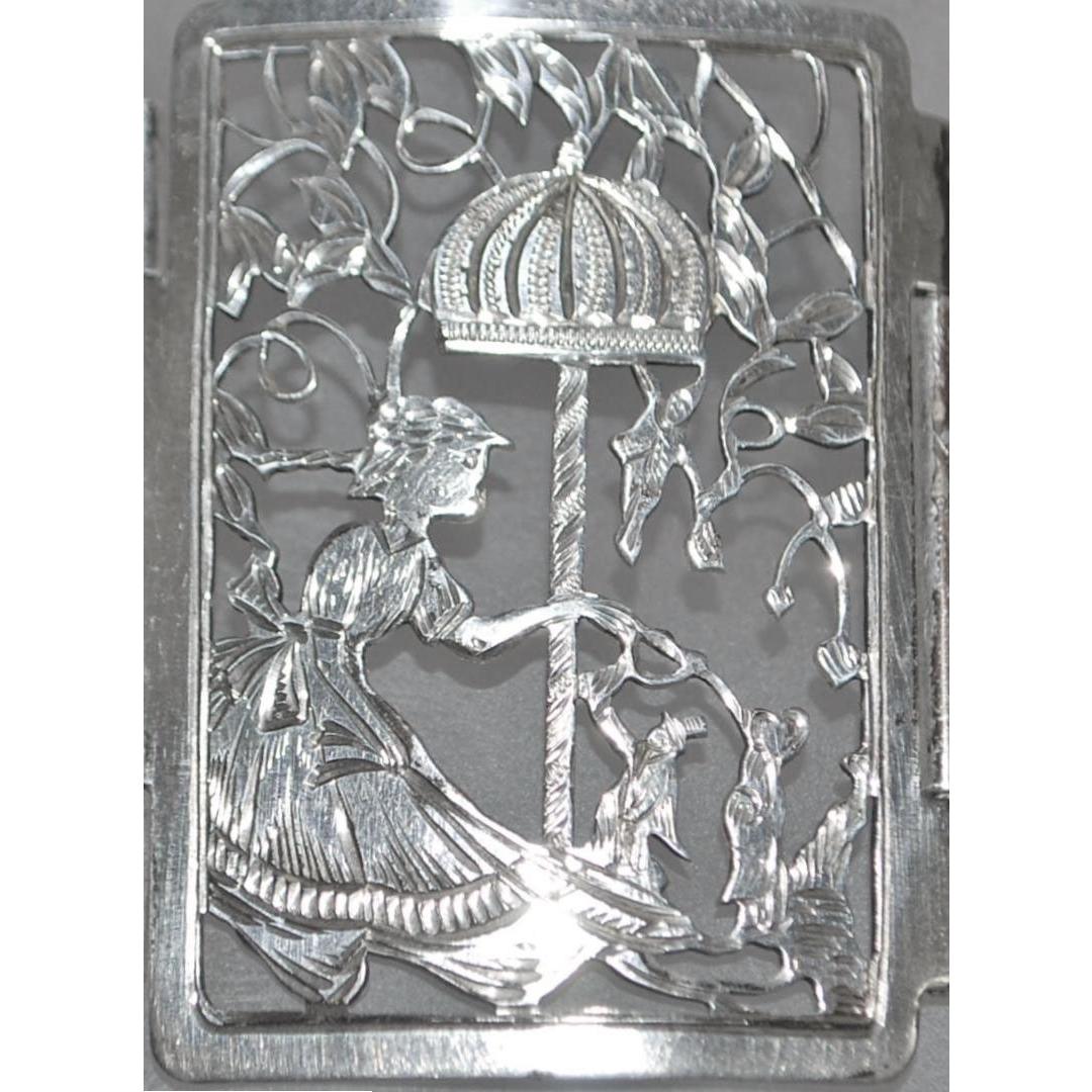 Fine German 800 Silver Large Story Teller Bracelet - 1900