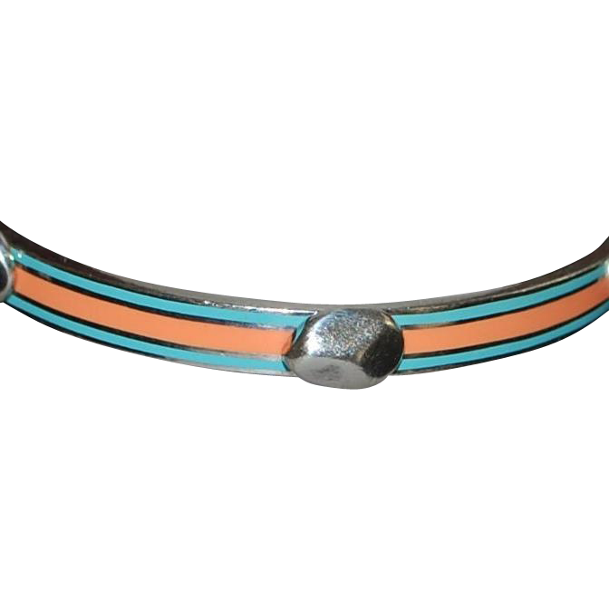 Sterling Silver Peach and Light Blue Enamel Bangle Bracelet