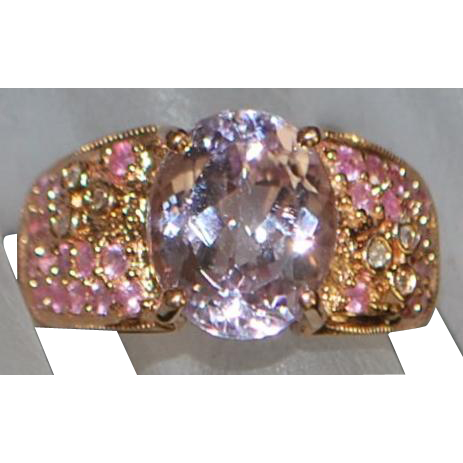 14k Rose Gold Five  Carat Kunzite and Pink Sapphire Ring