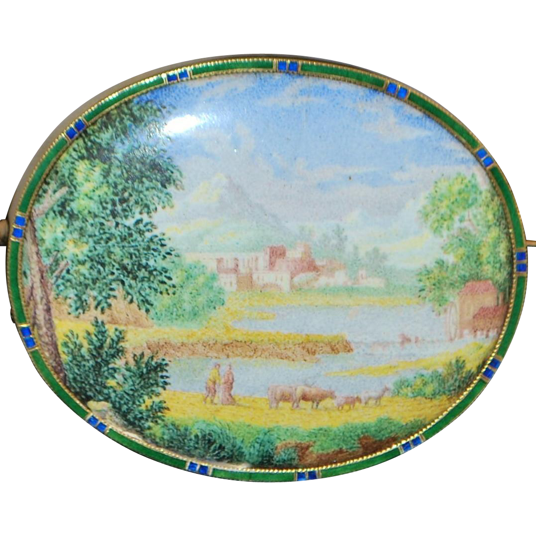 14k Large Gold and Enamel Pastoral Scene Brooch - 1920's