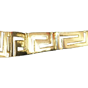 14K  Graduated Greek Key Gold Bracelet - 1980's