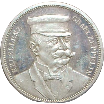 German Graf Zeppelin Ein Thaler Silver Coin - 1908 - Near Mint