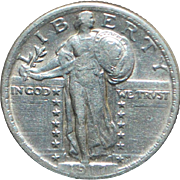 United States High Grade Standing Liberty Quarter Dollar Coin - 1917