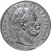 "Prussian Silver ""Victory Over France"" Thaler Coin - 1871- A"