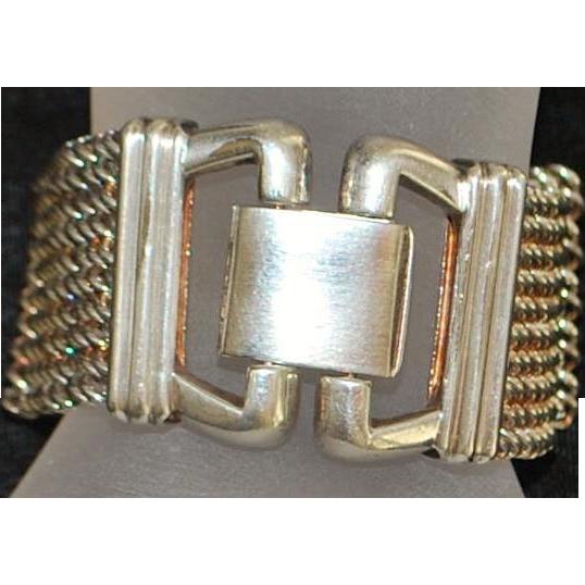 Heavy Italian Venetian Sterling Silver Chain Mail Bracelet - 1980's