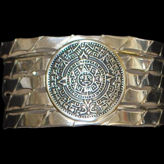 Mexican Aztec Calendar Braided Cuff Bracelet - 1970's