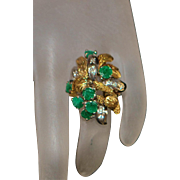 14K Large Emerald and Diamond Cocktail Ring - 1960's