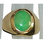 14KP Man's Apple Green Jade Ring - 1980's