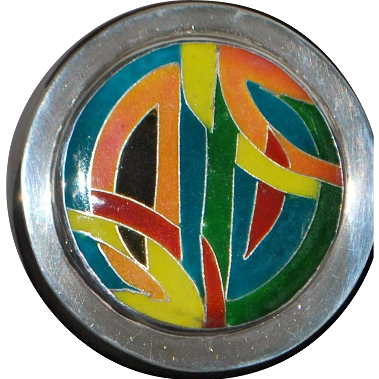 Heavy Sterling Silver and Enamel Box - 1970's
