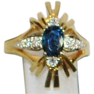 18K Sapphire and Diamond Retro Cocktail Ring - 1960's