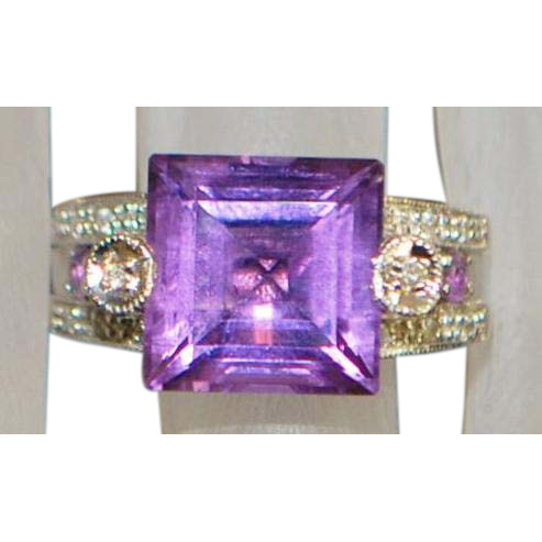 14K w/g Amethyst and Diamond Filigree Ring - 1950