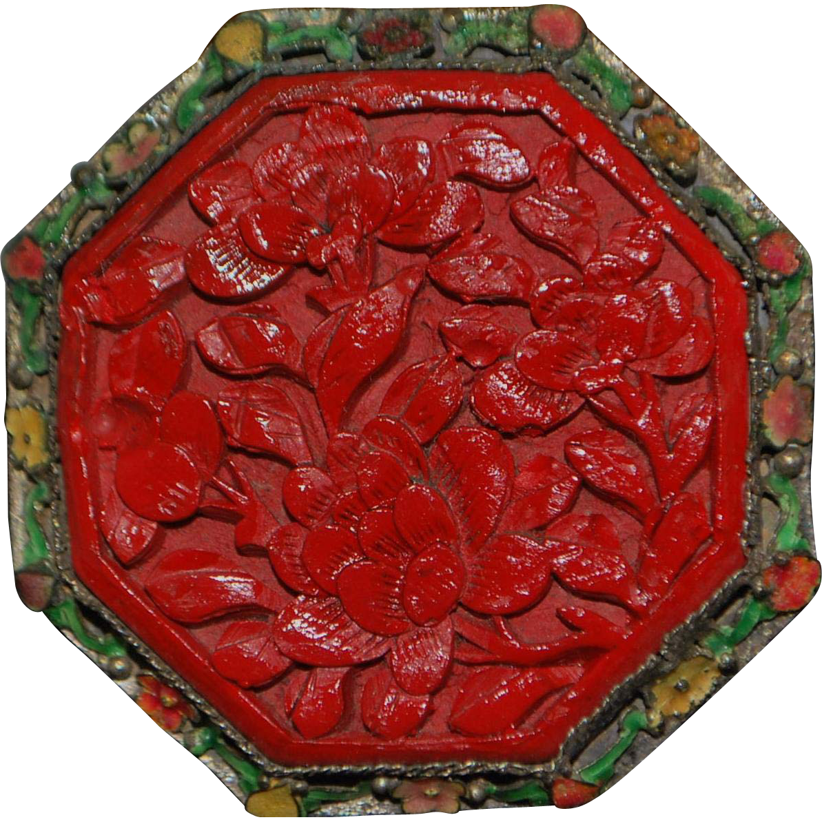 Large Chinese Cinnebar Filgree Enamel Brooch - 1900