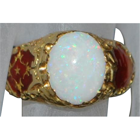 18K Italian Opal and Red Enamel Ring - 1920's