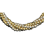 Sterling Silver Italian Two Tone Twist Bead Necklace - 1980's