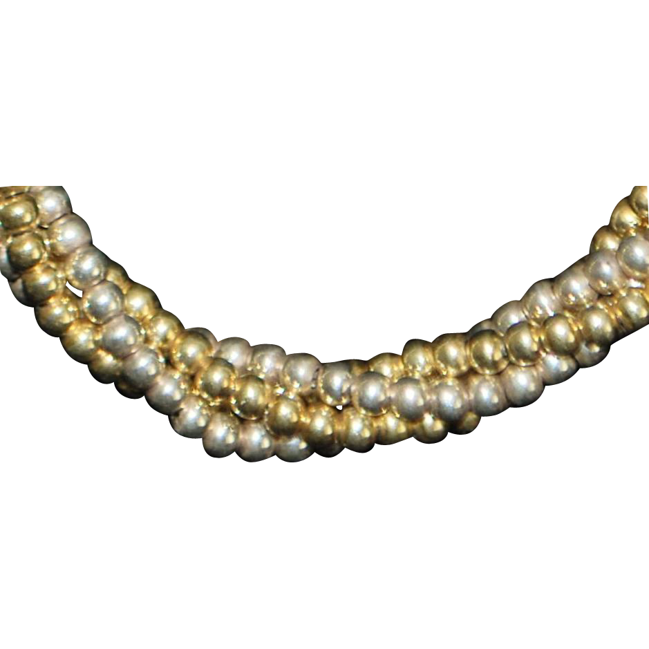 Sterling Silver Italian Two Tone Twist Bead Necklace - 1980's