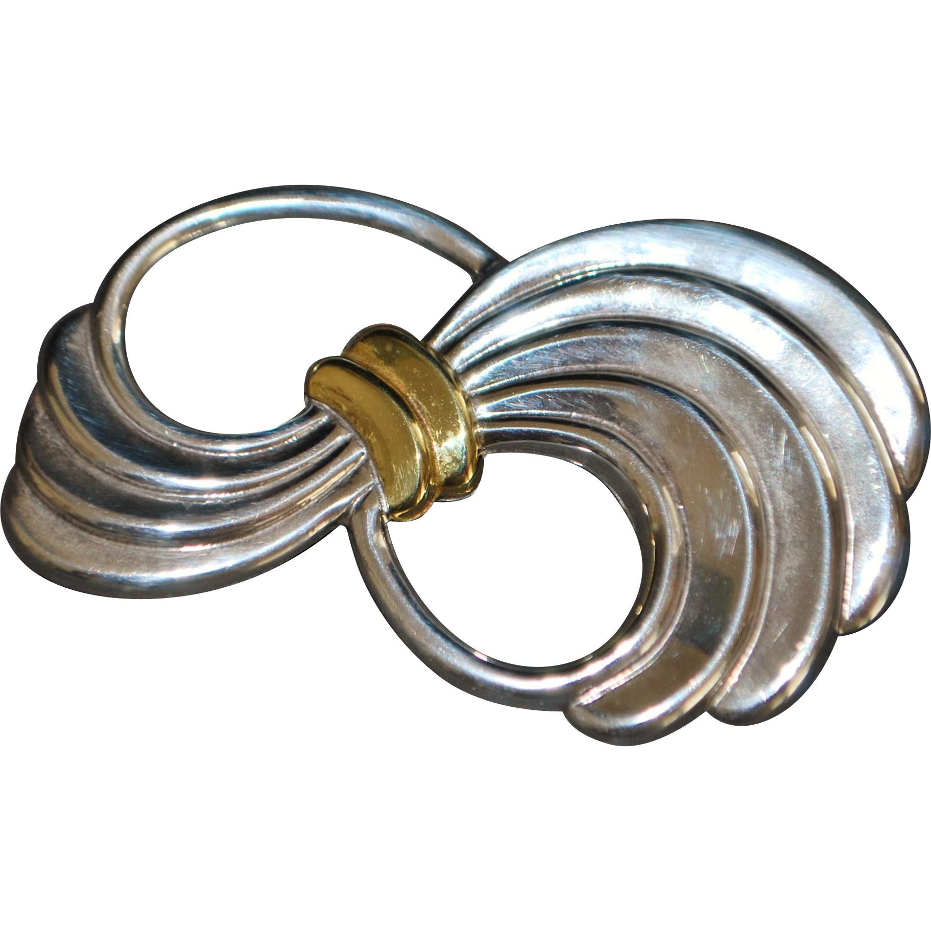 Large Taxco Sterling Silver Bow Brooch - 1980's