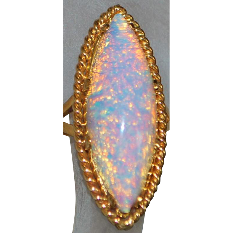 18K Large Flame Opal Ring