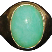 14K Large Man's Apple Green Jade Ring - 1970's