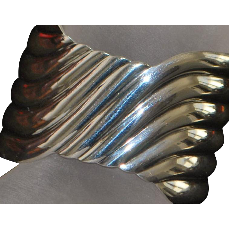 Heavy Sterling Silver Mexican Wave Cuff Bracelet - signed HARMS