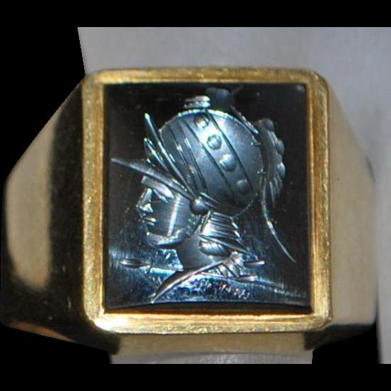 18K Man's Hematite Intaglio Signet Ring - 1950