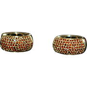 Pair of 14K Pave Red Diamond Huggie Earrings - 1980's