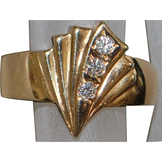 14k Rose Gold Diamond Fan Ring