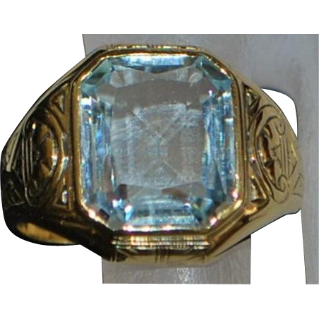 14k Large Man's 5 ct Aquamarine Signet Ring - 1920's