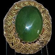 14k Large Jade Cocktail Ring - 1960's