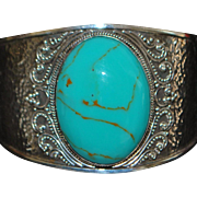 Large Sterling Silver and Turquoise Cuff Bracelet - 1980's