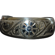 Russian 875 Silver Niello Cuff Bracelet - 1960