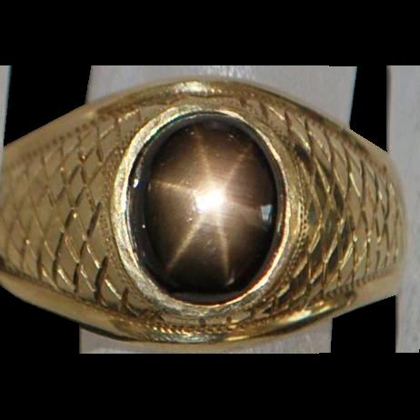 14K Man's Black Star Sapphire Ring - 1960's