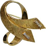 18K Italian Florentine Diamond Ribbon Brooch - 1980's