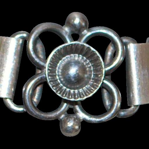 Norwegian 830 Silver Floral Bracelet - 1920