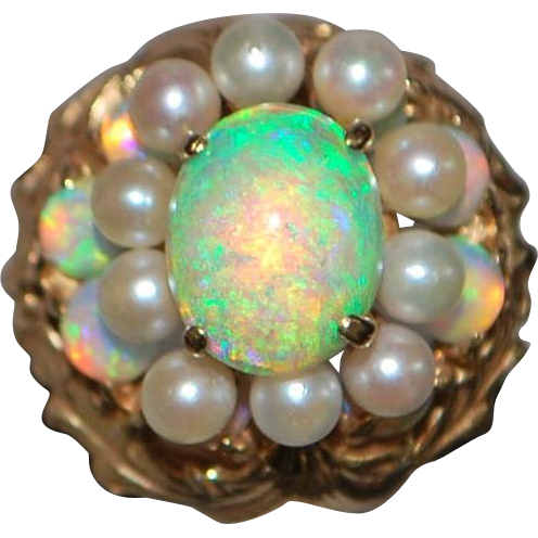 14k Large Elegant Opal and Pearl Cocktail Ring - 1980's