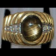 14K Man's Black Star Sapphire and Diamond Ring - 1980's