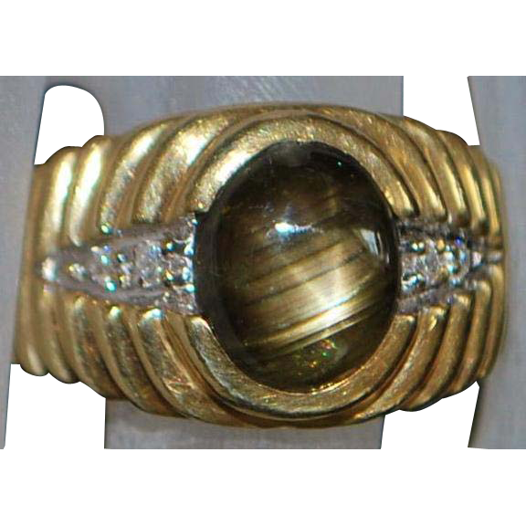 14K Man's Black Star Sapphire and Diamond Ring - 1980's
