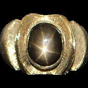 18K Man's 5ct Black Star Sapphire Ring - 1960's