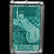 Sterling Silver Italian Art Stamp Pendant - 1980's