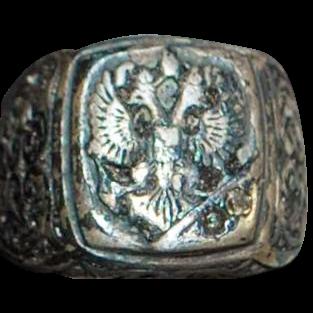 Russian Czarist Era Man's Signet Ring - 1880's