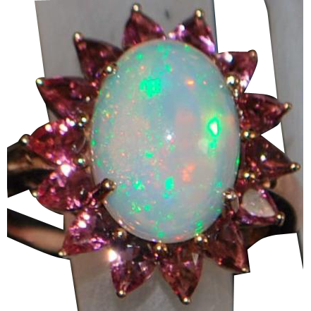14K Rose Gold 5ct Opal and Amethyst Ring - 1980's