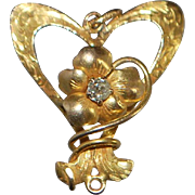 14K Butterfly and Floral Diamond Pendant - 1920's