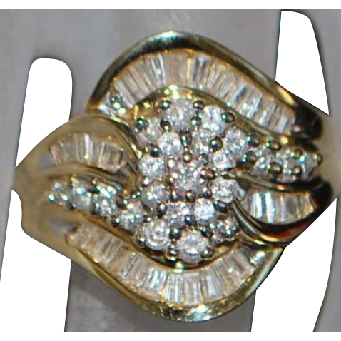 14K 1ct Diamond Fashion Ring - 1980's