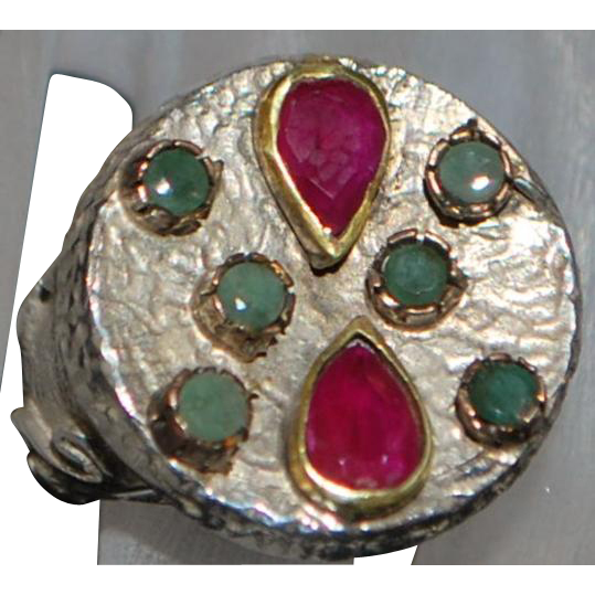 Modernist Sterling and Gold Ruby and Emerald Ring - 1970's