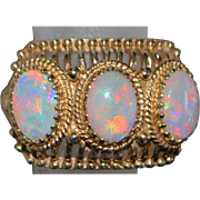 14K Triple Opal Fashion Ring - 1960's