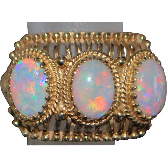 14K Triple Opal Fashion Ring - 1960's