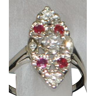14K w/g Diamond and Ruby Navette Ring - 1930's