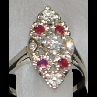 14K w/g Diamond and Ruby Navette Ring - 1930's