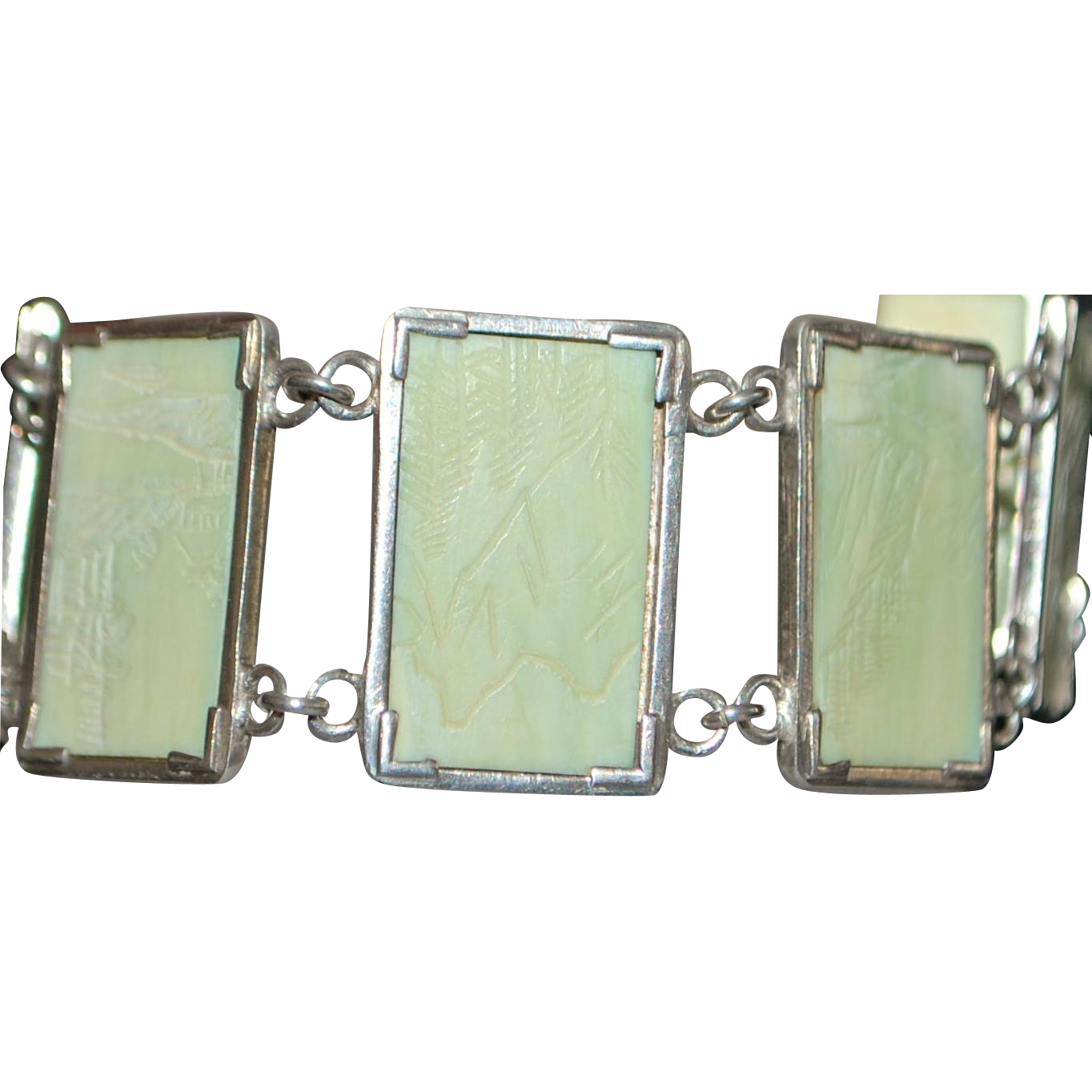Vintage Kotobuki Silver and Bamboo Bracelet - 1950's