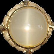 14K Large 30ct Cat's Eye Moonstone Ring - 1970's